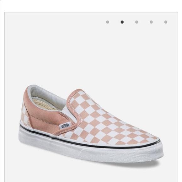 Vans Shoes | Blush Checkerboard Slip On